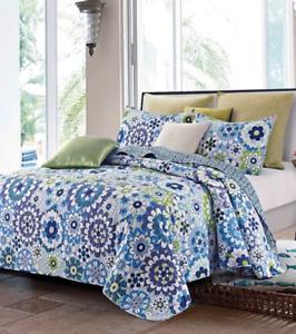 Virah Bella Collection FIORI blueeeE Patchwork Quilt Set FULL   QUEEN w   Shams