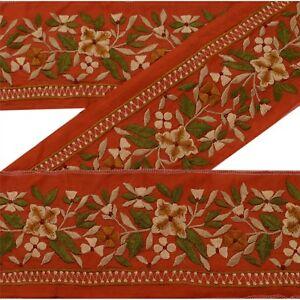 Trim & Edging Sanskriti Vintage Sari Border Craft Brown Trim Hand Embroidered Sewing Lace