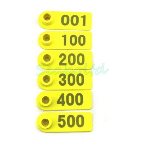 501-1000 2pcs   001-500 2Pcs 4sets Plastic Livestock Tag