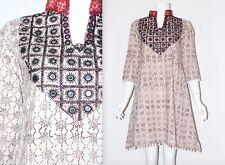 Vintage 90's Cream Brown PATTERN BOBBLE HEM HIPPY ETHNIC SHORT FESTIVAL Dress S