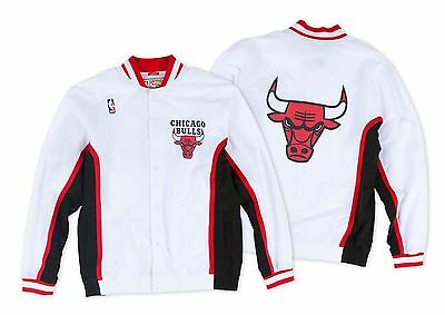 CHICAGO BULLS Mitchell & Ness White NBA Authentic Warmup Jacket Sz 44