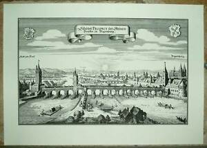 Regensburg-Steinerne-Bruecke-alte-Ansicht-Merian-Druck-Stich-1650