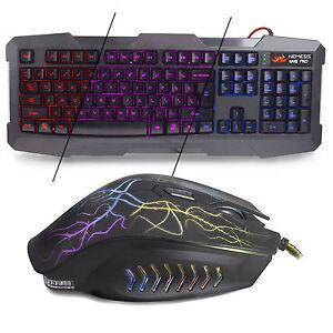 black usb wired gaming keyboard and mouse combo set bundle ebay. Black Bedroom Furniture Sets. Home Design Ideas