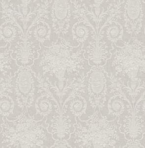 Tapete-Luxustapete-verspielte-Ornamente-floral-Medaillons-Kelche-Hellgrau