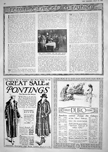 Antique-Print-1918-Lloyd-George-Girl-Guides-Dartford-Pontings-Duro-Fabrics-20th