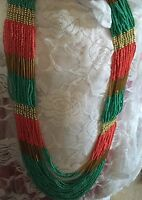 32 Long Turquoise Coral Red Seed Bead Egyptian Chunky Statement Necklace