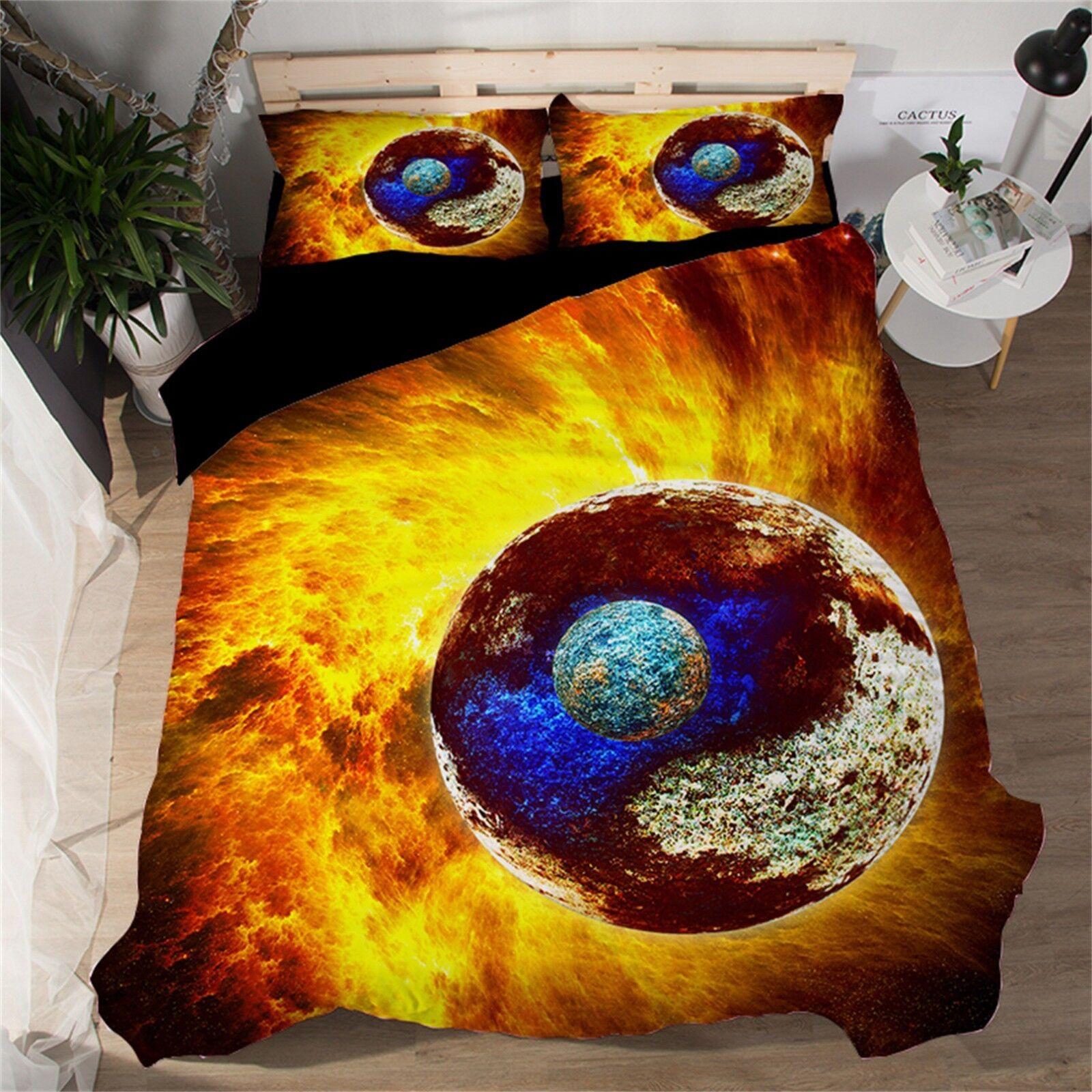 3D Earth Planet 461 Bed Pillowcases Quilt Duvet Cover Set Single Queen King AU