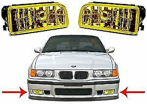 Pair-YELLOW-glass-fog-lights-foglights-BMW-E36-saloon-coupe-convertible-touring