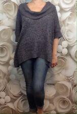 New Directions Womens Sweater Cowl Neck Blue Tan Sz L EUC