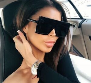 e136920db90d7 Women s Flat Top Large Square Frame Oversize Sunglasses Celebrity ...