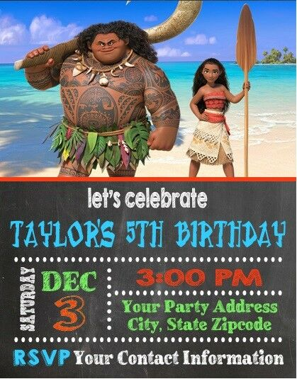 Moana Birthday Party Invitations Invites Personalized Custom For Sale Online