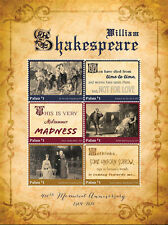 Palau-2016-famous people-William Shakespeare 400th anniversary sheetlet