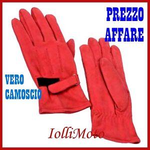 GUANTI-MOTO-SCOOTER-TEMPO-LIBERO-IN-CAMOSCIO-ROSSO-039-RED-FOX-039-TAGLIA-L