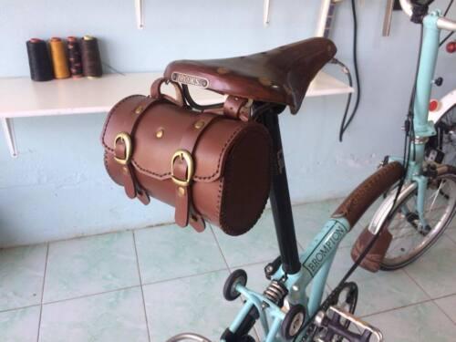 Brown Genuine Leather Saddle Bag,Brompton,BROOKS,Vintage Bike,Folding Bike