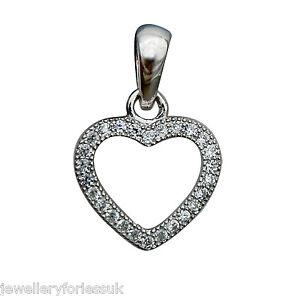 18Carat-White-Gold-amp-Diamond-Open-Heart-Pendant-0-15-carats-amp-16-034-Chain-Necklace