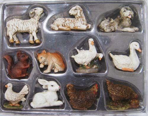 Krippenfiguren Set Krippenzubehör Tierset Tiere 11 teilig für Figuren v.7-9 cm