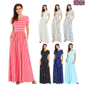 958378e8268 Image is loading Womens-Striped-Maxi-Dress-Party-Stage-Short-Sleeve-