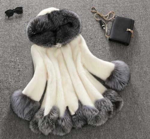 Womens Fur Hooded Collar Coats Mid Long Dress jackets Warm Winter Overcoats Size