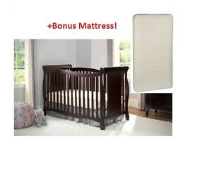 4 In 1 Convertible Baby Crib BONUS MATTRESS Fixed Side