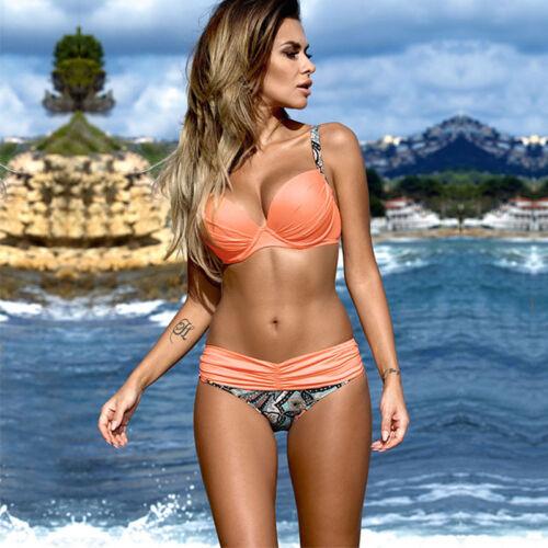 Damen Push Up Bikini Set Monokini Bandage Badeanzug Strand Bademode Schwimmanzug