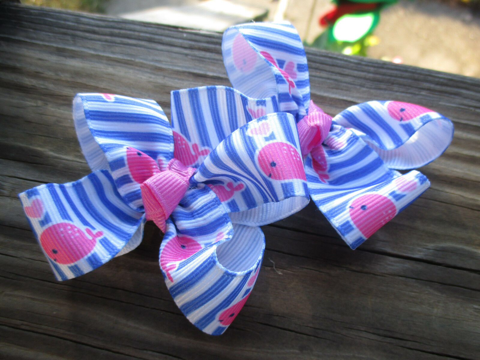 Preppy Summer Bow Navy and Pink Whale Bow Pink and White Whale Bow Nautical Hair Bow Beachy Bow Pink Chevron and Navy Whale Bow