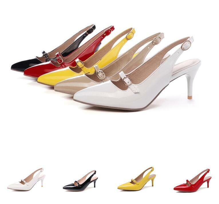 2019 Ladies Ankle Strap Mid Stiletto Heel Pointed toe Slingback Pump OL shoes Sz