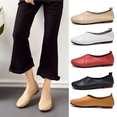 New Womens Genuine Leather Glove Shoes Flat Loafers Ballet Shoes Casual Moccasin