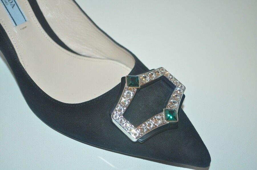 NIB $950+ PRADA Crystal BROOCH Pointy schuhe Toe Pump 65 Heel schuhe Pointy BLACK Suede 38.5 - 8 83cb6d