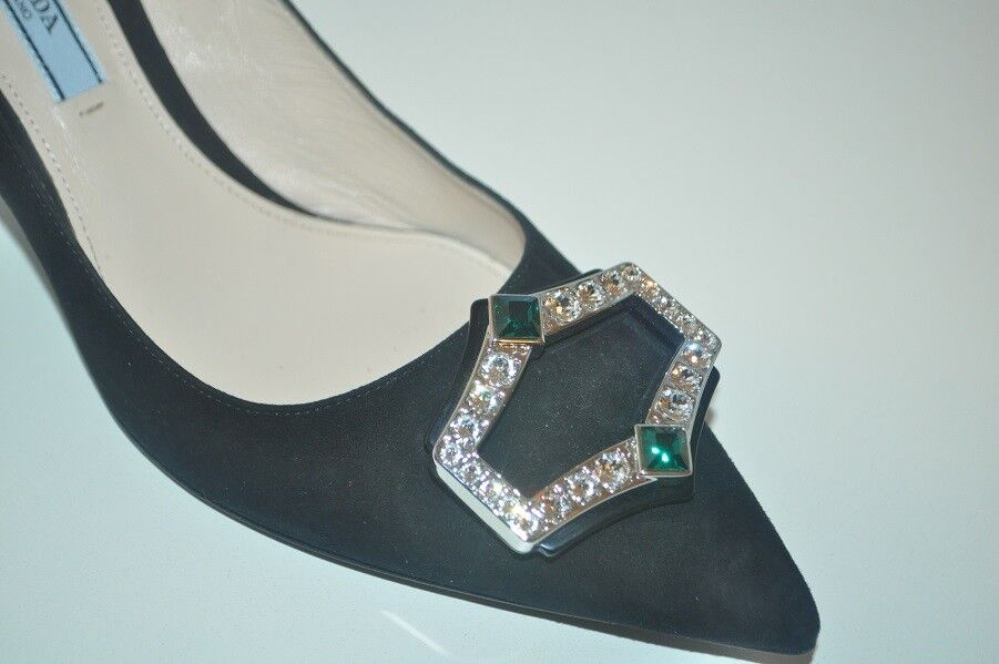 NIB $950+ PRADA Crystal BROOCH Pointy Toe Pump Pump Toe 65 Heel schuhe BLACK Suede 38.5 - 8 98f3ca