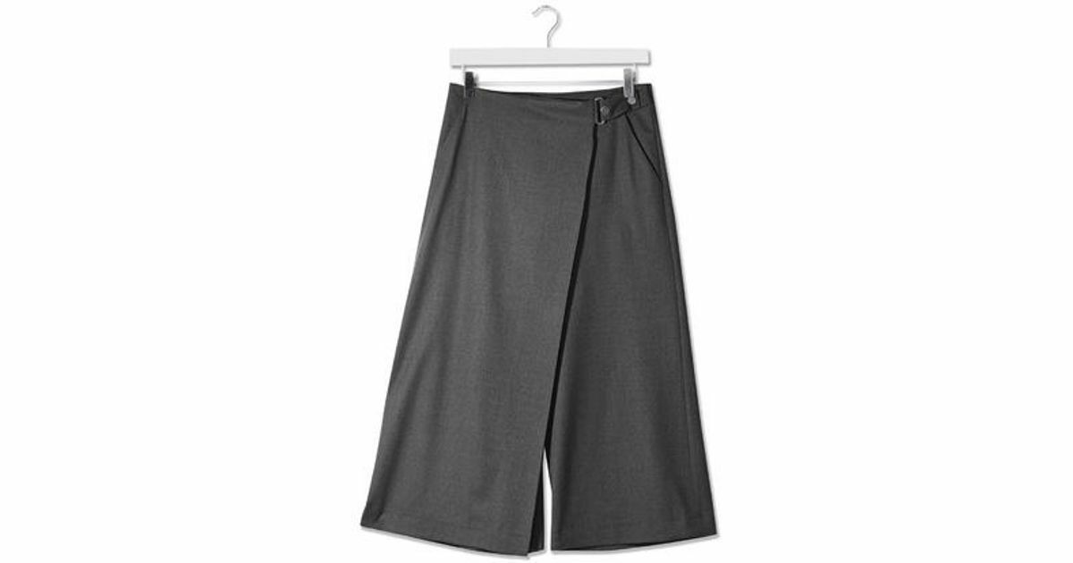 Topshop Boutique Grey Wrap 100% Wool Pants Culottes Made in UK US 2 EUC