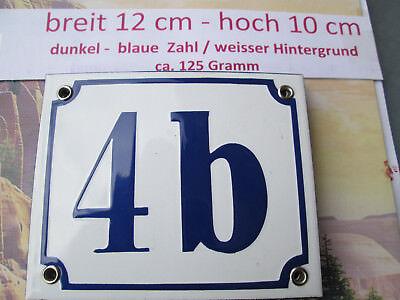 Aufstrebend Emaille-hausnummer Nr. 4b Dunkel-blaue Zahl Auf Weißem Hintergrund 12 Cm X 10 Cm