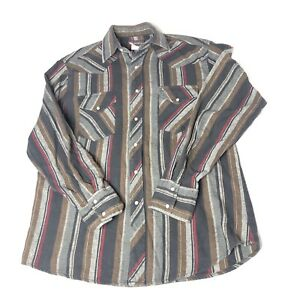 Vtg-Wrangler-Men-039-s-Pearl-Snap-Flannel-Striped-Long-Sleeve-Western-Shirt-Sz-L