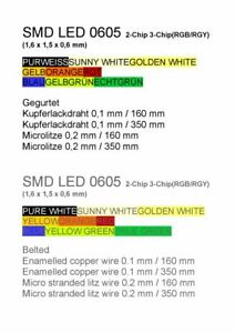 SMD LED 0605 2chip 3chip Doppelfarben gegurtet double multi colour bi duo