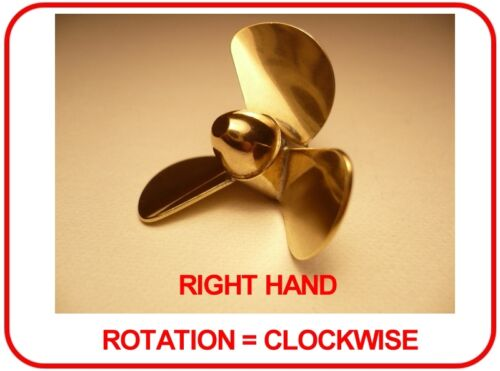 Brass model boat propeller 40mm 3 blades m4 right side rotation direction of an