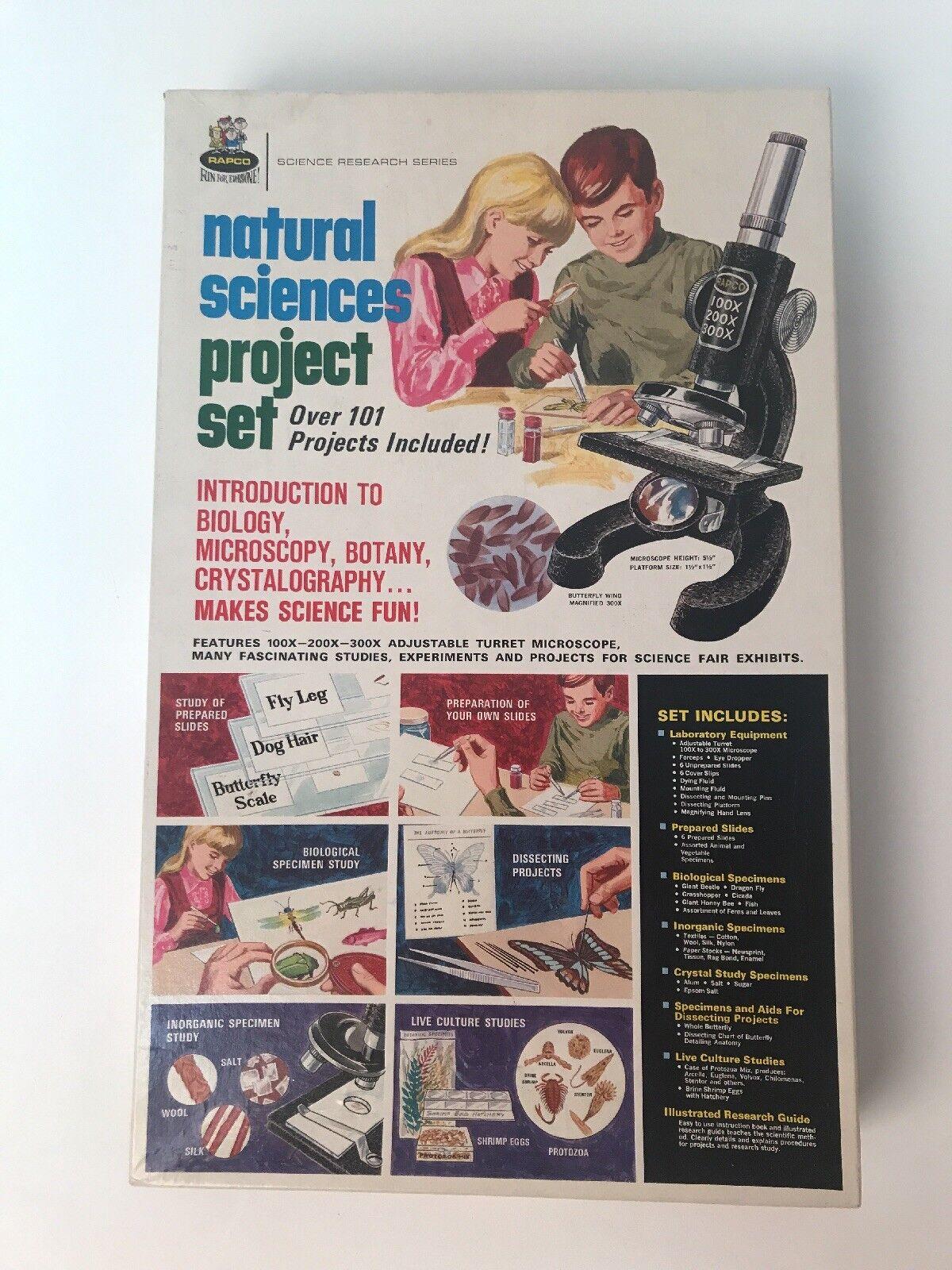 Set Vintage Rapco Ciencias Naturales Proyecto Diapositivas Biología Microscopio
