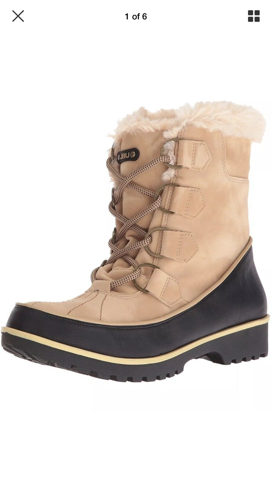 JBU Womens Mendocino Lace Up Cold Weather Boots shoes Tan 71 2 M