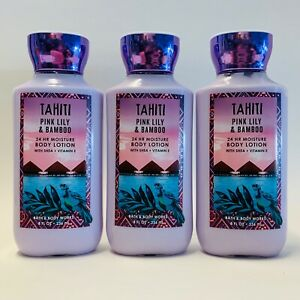 3-Bath-amp-Body-Works-TAHITI-Pink-Lily-amp-Bamboo-24-HR-Moisture-Body-Lotion-8-fl-oz