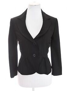 Ann Taylor Loft Sz 6 Cropped Peplum Ruffle Black S Suit Blazer Jacket Womens