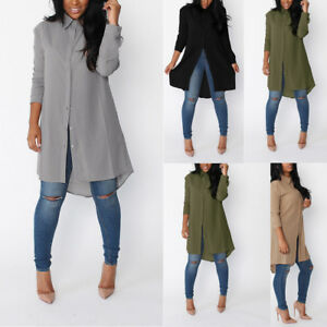 Ladies-Womens-Chiffon-Long-Sleeve-Loose-Casual-Blouse-Top-Shirt-Tunic-Mini-Dress