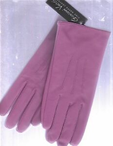 NEW VECCI LADIES HOT PINK NAPPA LEATHER GLOVES (SIZE MEDIUM/LARGE/LINED)