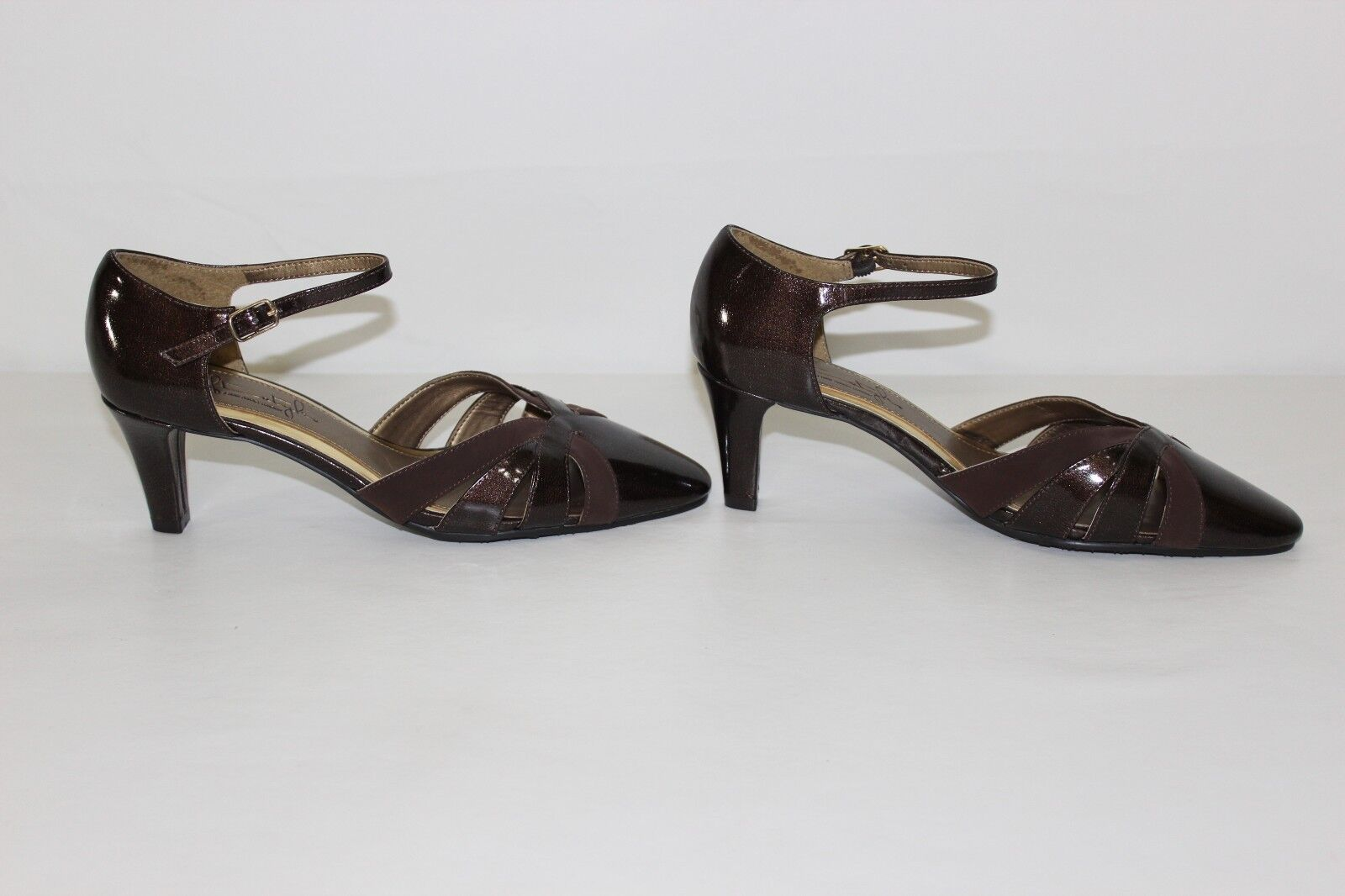 Soft Sz Style Hush Puppies Womens Sz Soft 6.5 M Brown Strappy High Heels Pumps Shoes NEW b86410