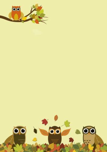 Motivpapier Briefpapier Eulen im bunten Herbstlaub  20 Blatt DIN A4  Eule Herbst
