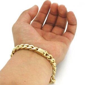 Mens-14k-Gold-Plated-8mm-Chunky-Dome-8-5-034-Inch-Cuban-Hip-Hop-Bracelet