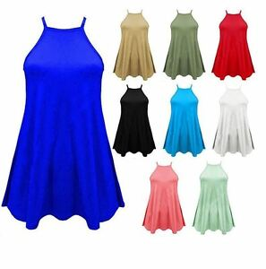 New-Women-Ladies-High-Neck-Cami-Vest-Top-Camisole-Strappy-Swing-Dress-Plus-Size