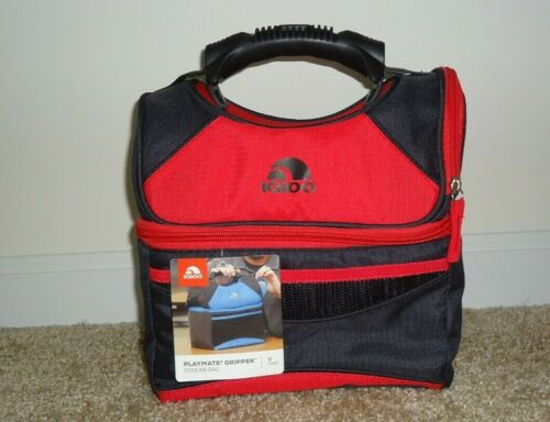 IGLOO INSULATED PLAYMATE GRIPPER DUAL COMPARTMENT COOLER BLAZE RED NEW 9 CANS