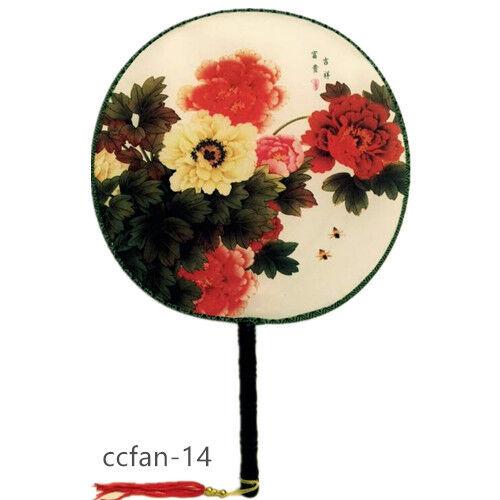 Chinois japonais oriental élégant toile imprimée manche en bois éventail à la main CCFAN