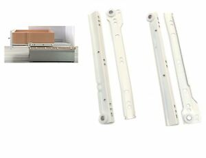 Roller Drawer Runners Metal White Kitchen Size 300mm Free Fixings