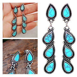 Retro-Turquoise-Dangle-Drop-Earrings-Long-Ear-Stud-For-Women-Charm-Jewelry