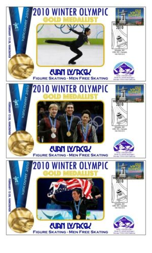 EVAN LYSACEK 2010 OLYMPIC ICE SKATING SET OF GOLD COVs
