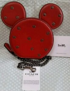 pretty nice a3c2e 139de Details about Coach Disney Limited Edition Red Minnie Mouse Leather  CoinPurse BOXED Brand New